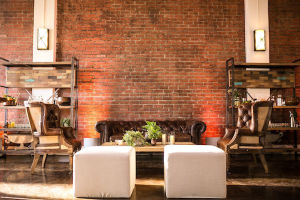 lighting, exposed brick, modern, industrial, seating, event design, av, pacific event services, los angeles, party slate